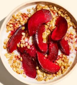 Oatmeal with honey roasted plums